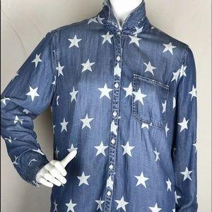 Sneak Peek Chambray Blue with Stars Long sleeve